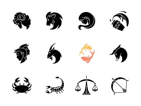 Zodiac signs black glyph icons set on white space