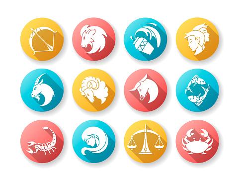 Zodiac signs flat design long shadow glyph icons set