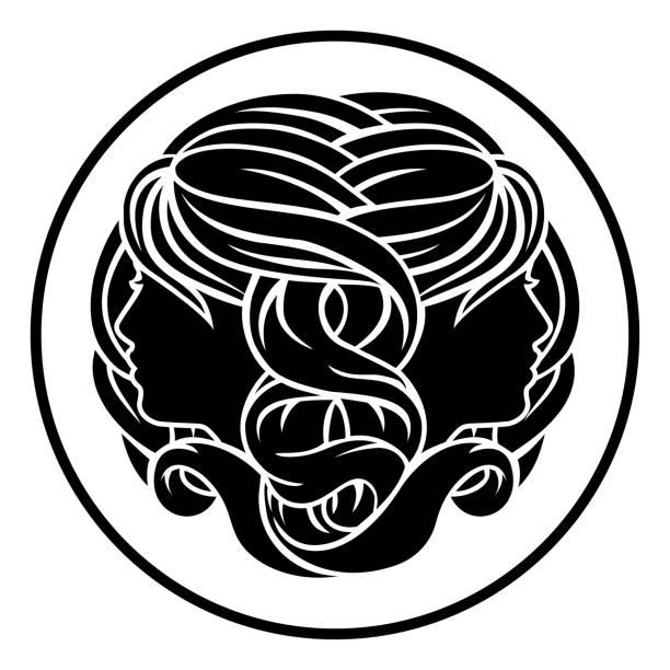 illustrazioni stock, clip art, cartoni animati e icone di tendenza di segni zodiacali gemelli gemelli gemelli - gemelle