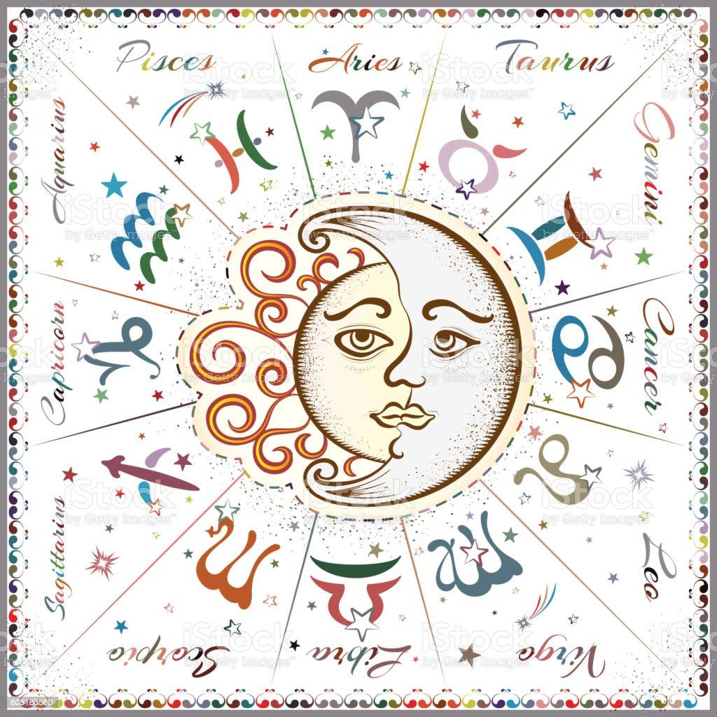 Calendrier Du Zodiaque.Signes Du Zodiaque Horoscope Vecteurs Libres De Droits Et