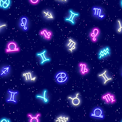 Zodiac signs, horoscrope symbols, stars in space, seamless pattern. Texture for wallpapers, fabric, wrap, web page backgrounds, vector illustration