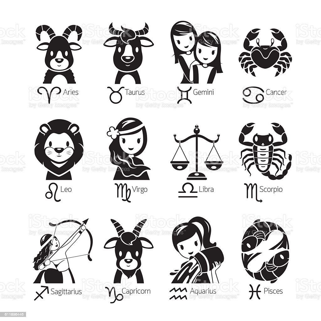 zodiac signs icons set monochrome stock vector art more images of aquarius astrology sign. Black Bedroom Furniture Sets. Home Design Ideas