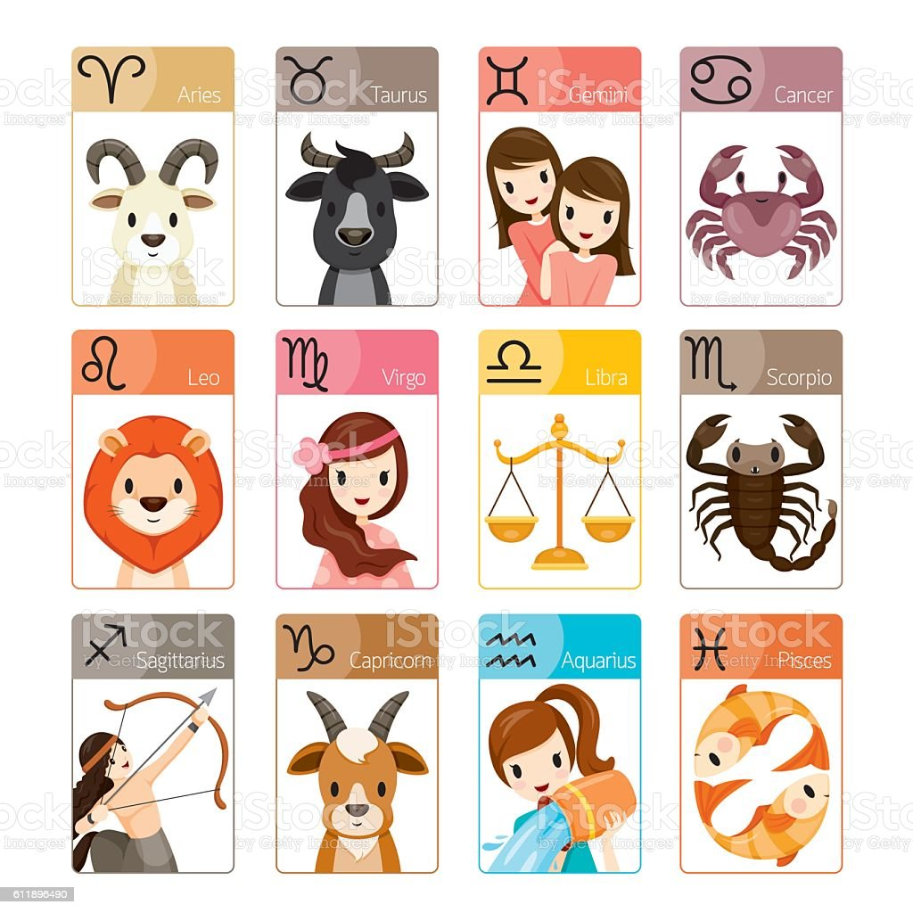 Zodiac Signs Icons Set Stock Vector Art & More Images of