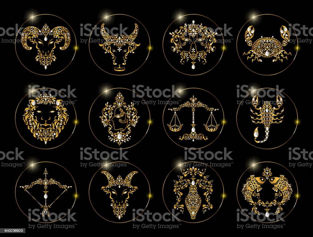 zodiac signs of horoscope symbols astrology icons collection with gold patterned and crystals on paper color vector art illustration