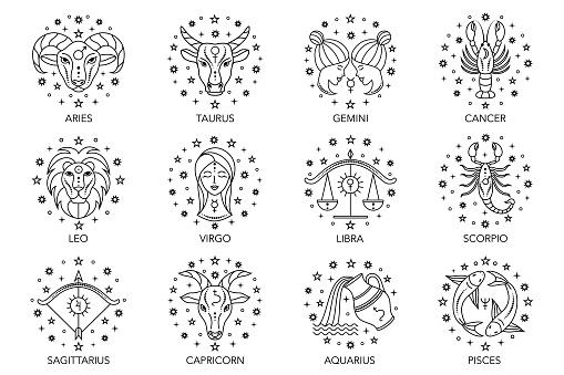 zodiac signs on white