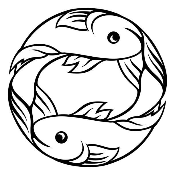 illustrations, cliparts, dessins animés et icônes de signes du zodiaque poisson poissons - pisces zodiac