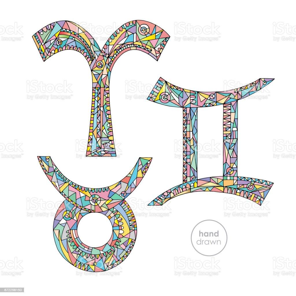 Zodiac Signs Set Aries Taurus Gemini Horoscope Pastel Colors