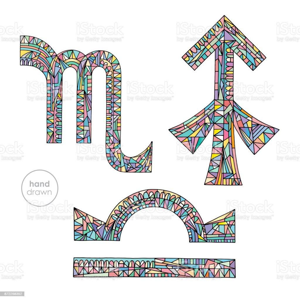 Zodiac Signs Set Libra Scorpio Sagittarius Horoscope Pastel Colors ...
