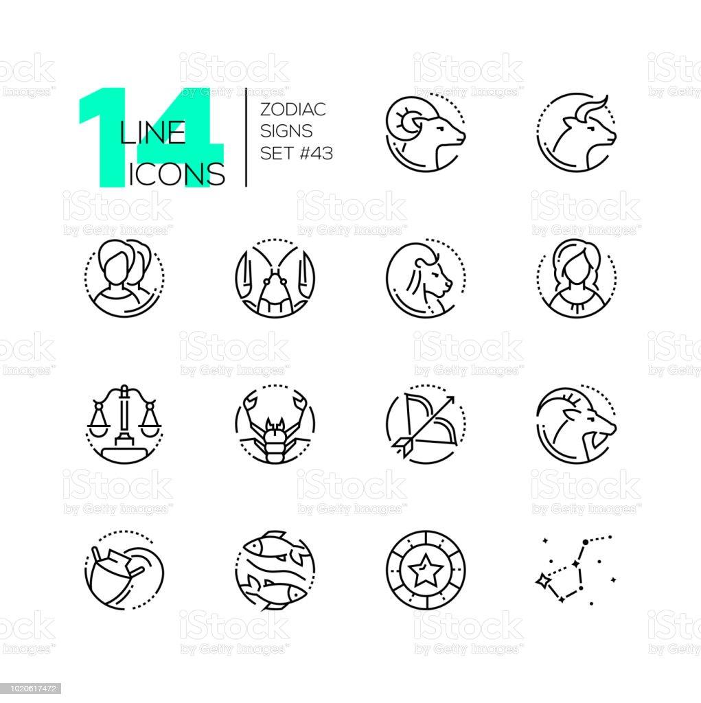 Zodiac signs - set of line design style icons - ilustração de arte vetorial