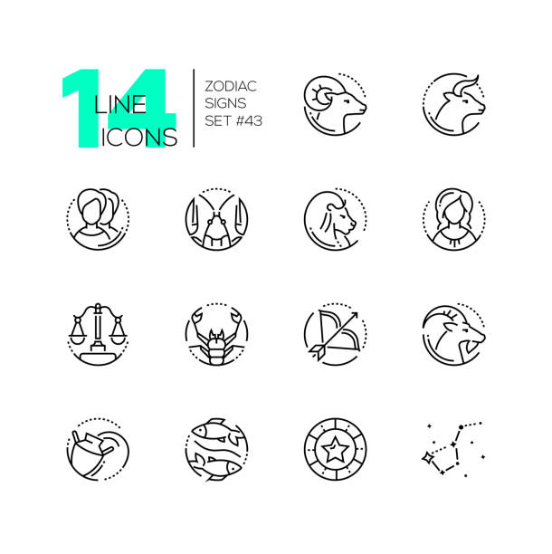 Zodiac signs - set of line design style icons vector art illustration