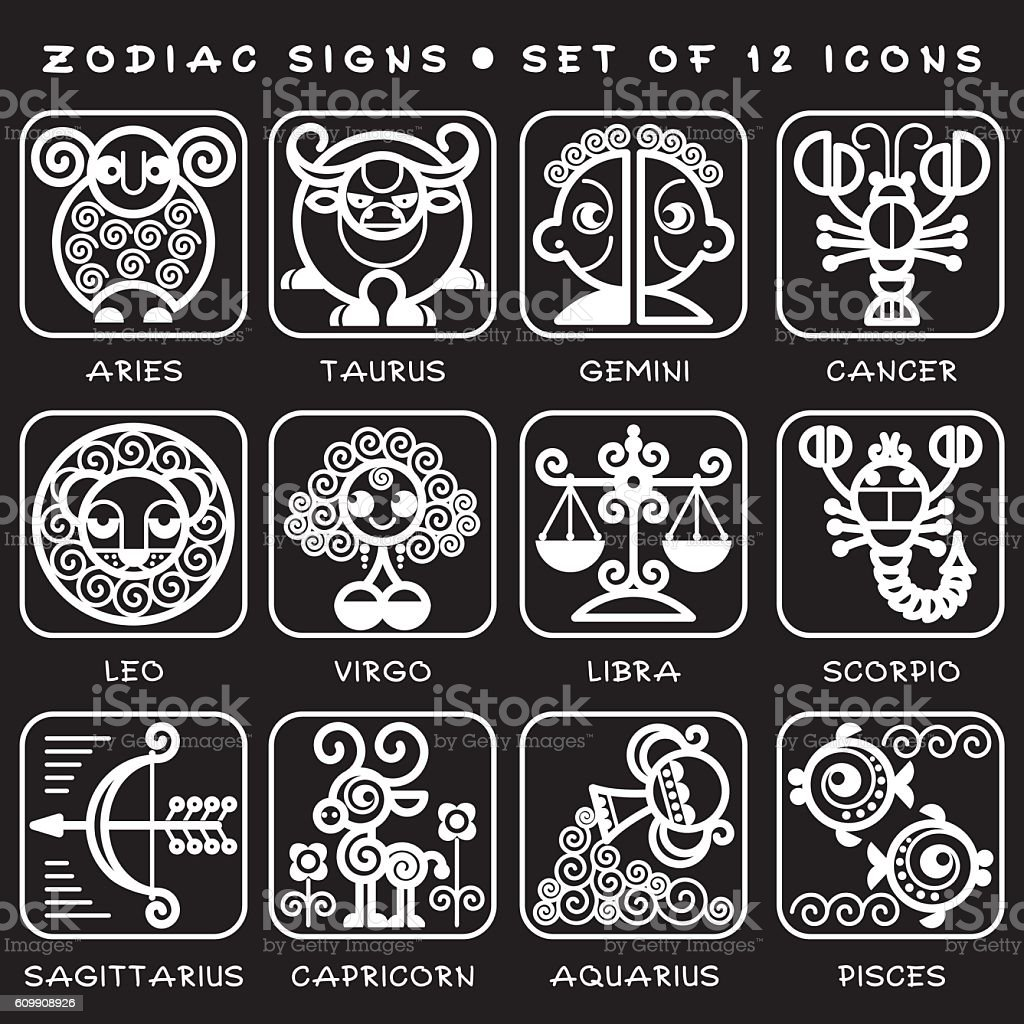 Zodiac signs set of vector icons white illustration of zodiac zodiac signs set of vector icons white illustration of zodiac symbols royalty buycottarizona