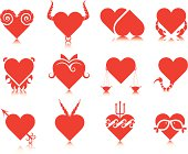 Love hearts zodiac signs set. Eps and hi-res jpg.