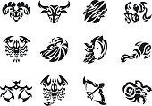 Zodiac signs sets tattoo set. Men's tattoo. Women's tattoo.