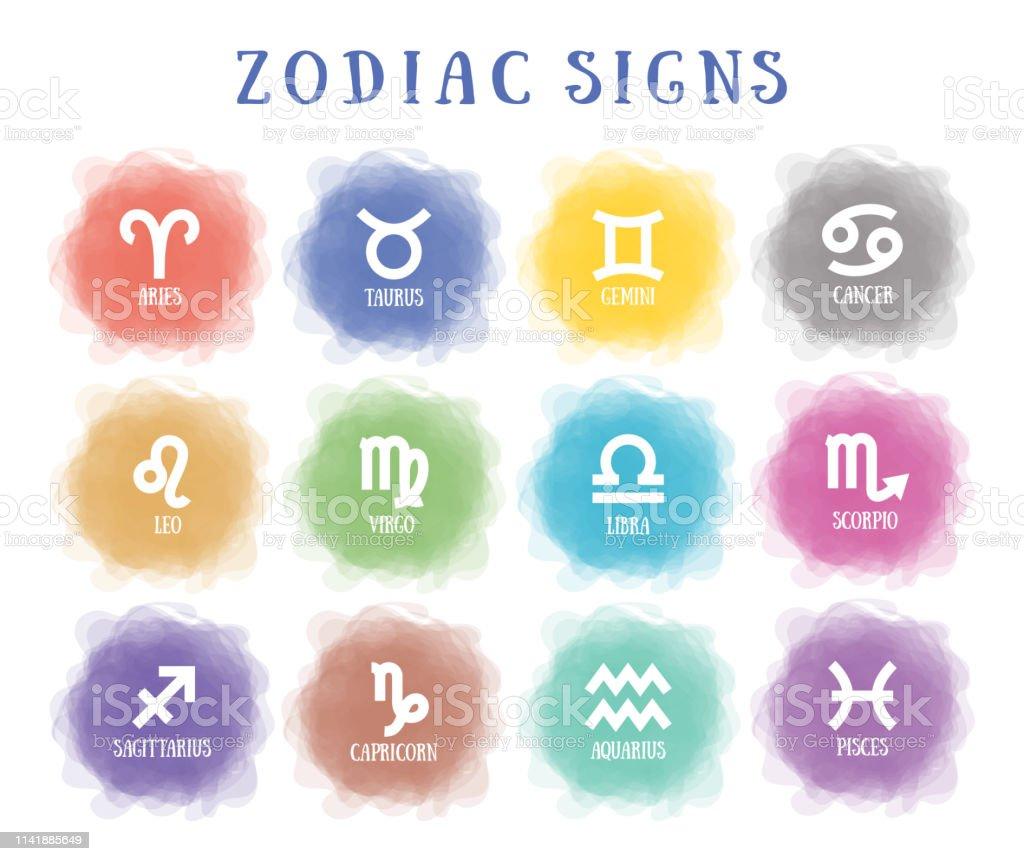 Tierkreiszeichen Rauchiger Kreis Liniensymbol Aquarius Libra Leo ...