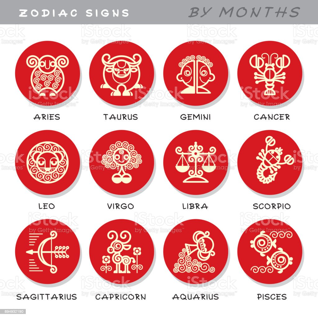33ccf8e48 Zodiac signs - vector icons of animals by months, symbols of astrological  calendar. royalty