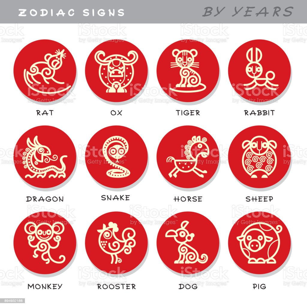 Zodiac signs - vector icons of astrological animals by years, symbols of Chinese astrological calendar. vector art illustration
