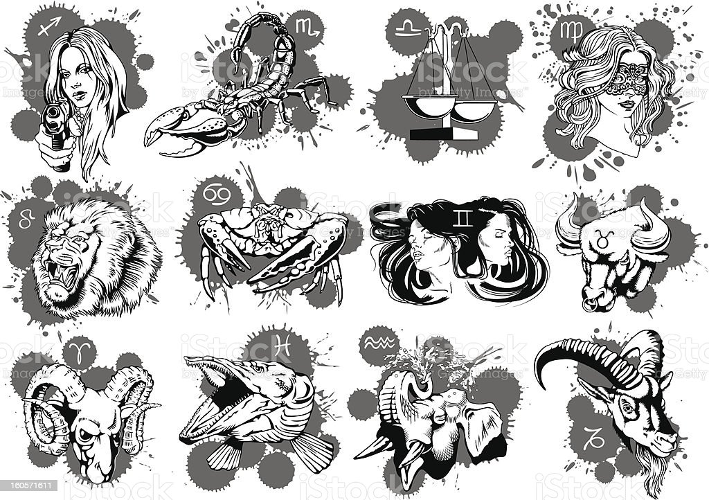 Zodiac signs royalty-free stock vector art