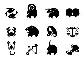 Twelve black Zodiac signs on white