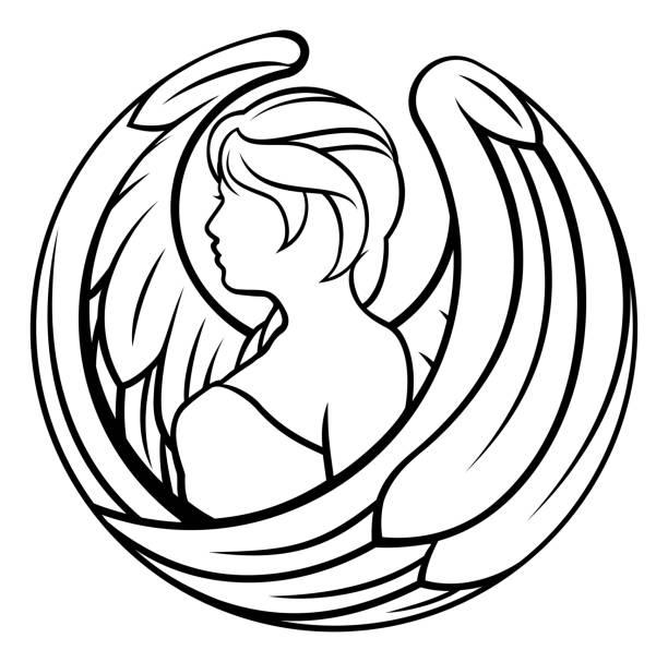 ilustraciones, imágenes clip art, dibujos animados e iconos de stock de zodiaco signos virgo icono - tatuajes de ángeles