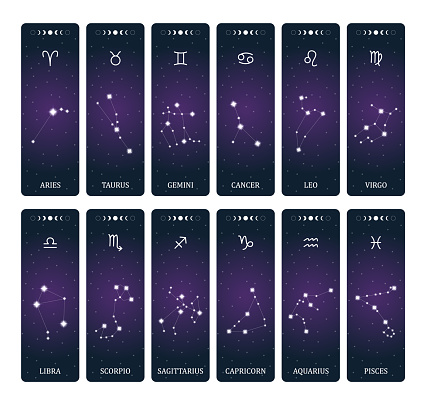 Zodiac signs with constellations on outer space background. Mystery and esoteric. Horoscope vector illustration. Spiritual tarot poster. Magic occult tarot and astrology cards.