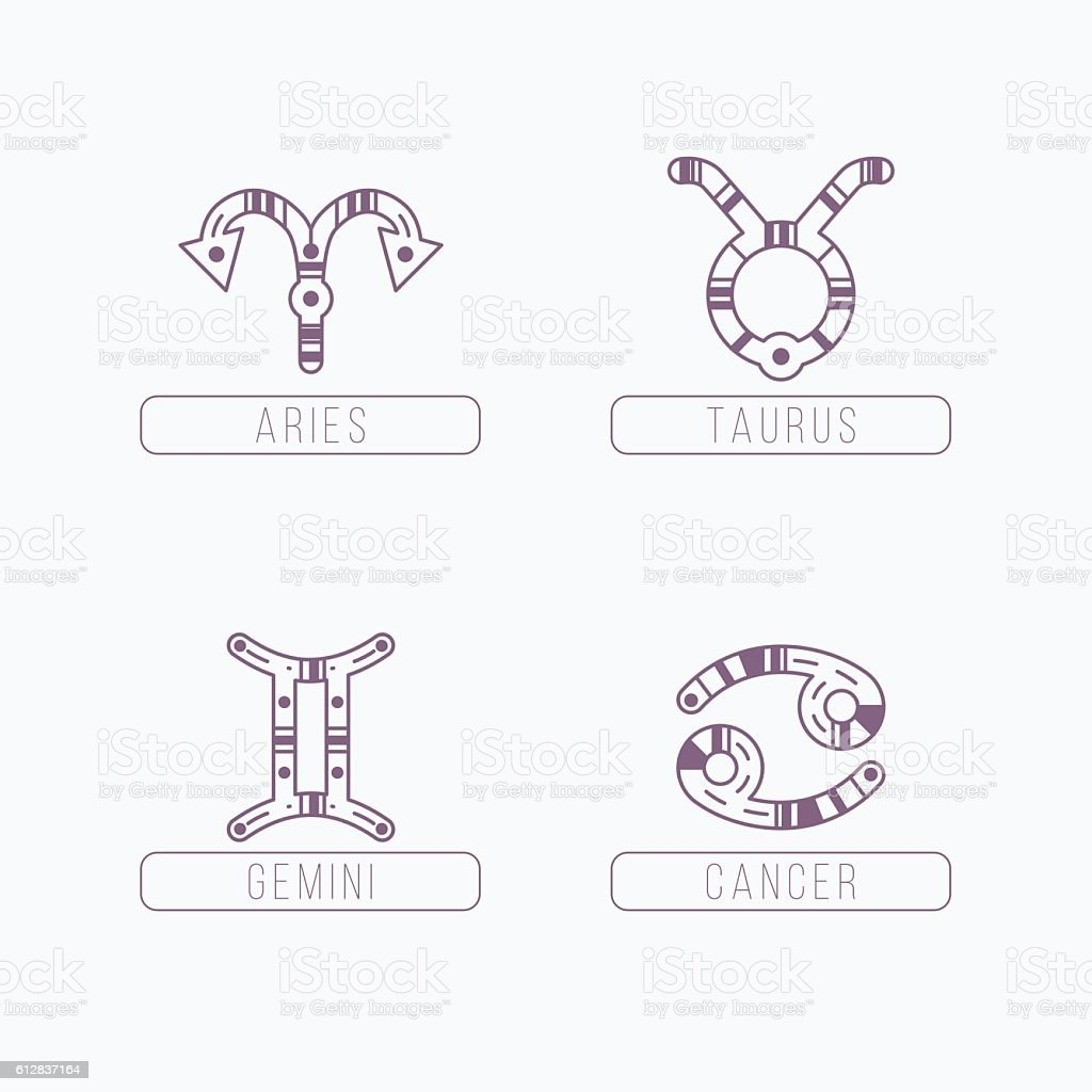 Zodiac Signs With Ethnic Patterns Geometric And Aztec Decor Elements