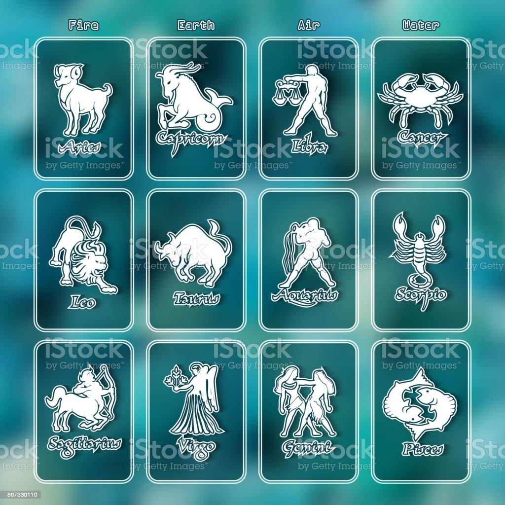 Zodiac Signsvector Illustration On Blue Background Stock