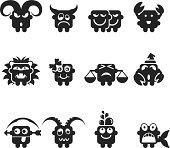 Zodiac Silhouette Emoticons Vector File.