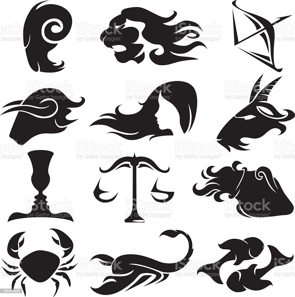 Zodiac silhouette set stock vector art more images of animal number 12 sign symbol animal aquarius zodiac sign biocorpaavc