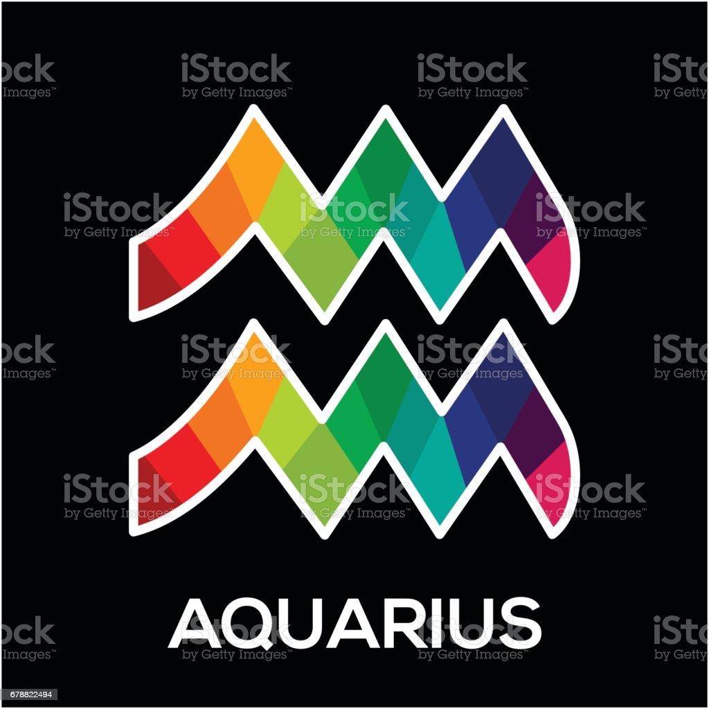 Zodiac Symbol For Aquarius With Colorful Concept Stock Vector Art