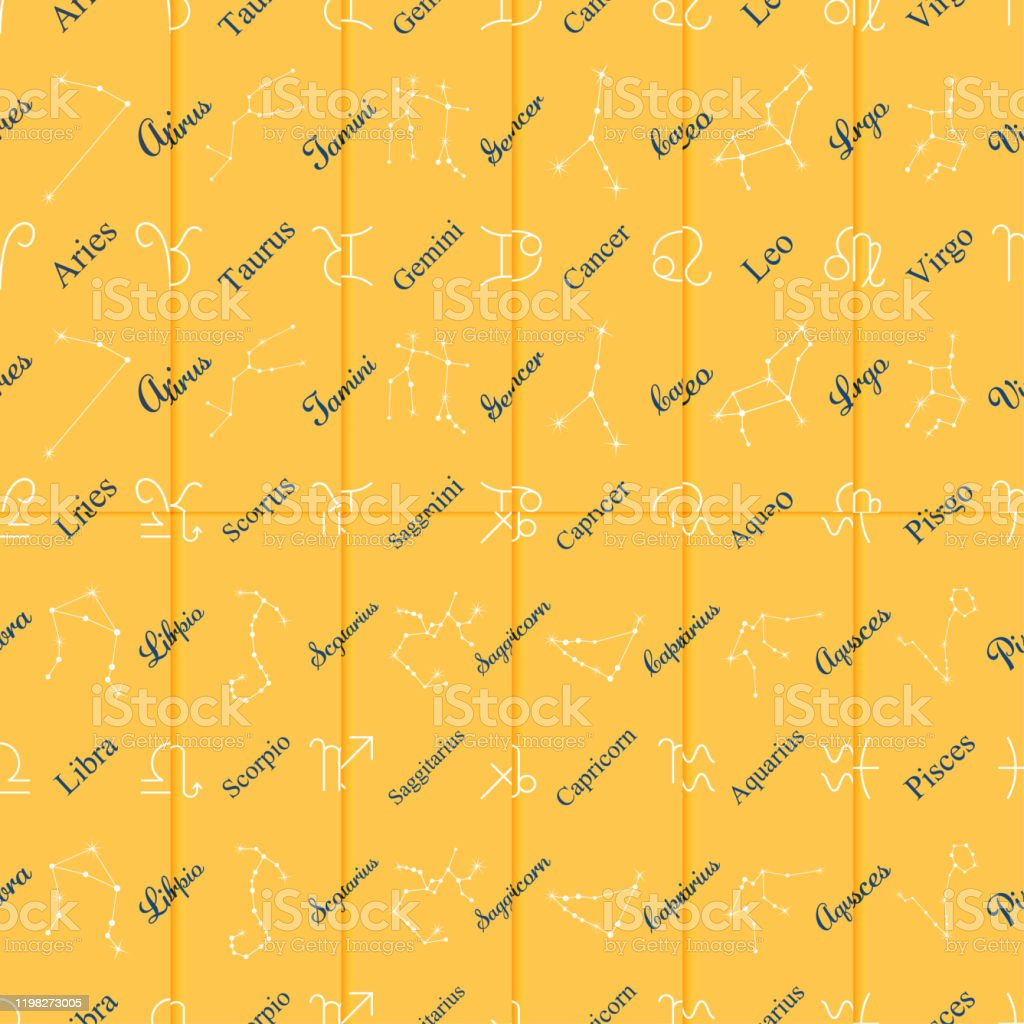 Zodiac Symbols And Star Theme Wrapping Paper Seamless Pattern Vector Background Stock Illustration Download Image Now Istock