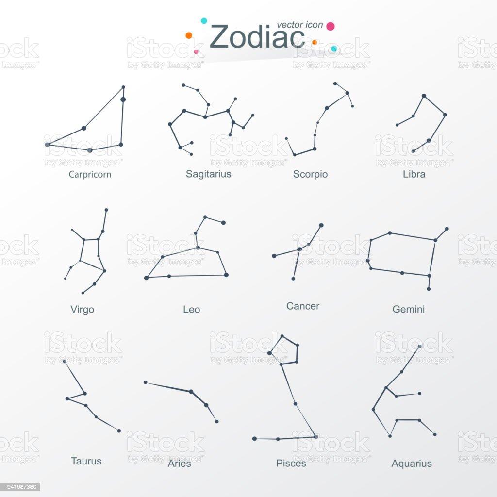 Sternzeichen Symbole Moderner Stil Stock Vektor Art und mehr Bilder ...