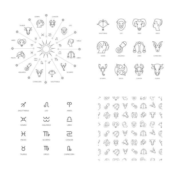 ilustrações de stock, clip art, desenhos animados e ícones de zodiac symbols - astrologia
