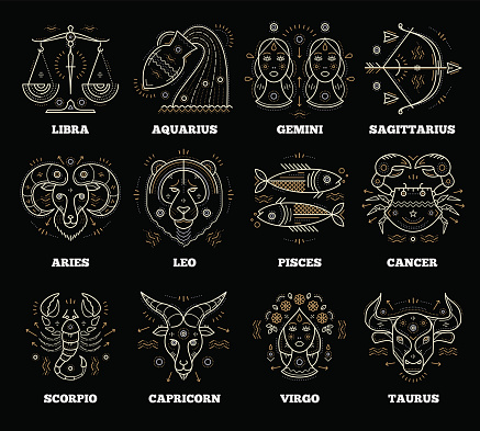 Zodiacal and astrological symbols. Graphic design vector element