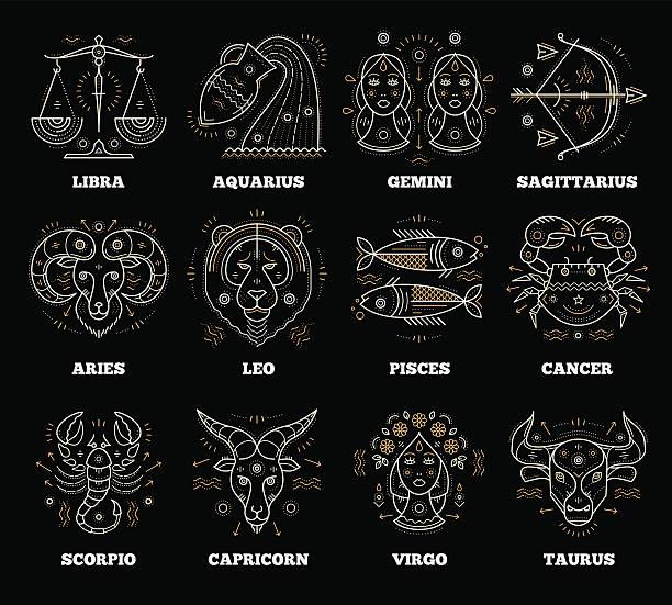 ilustrações de stock, clip art, desenhos animados e ícones de zodiacal and astrological symbols. graphic design vector element - astrologia