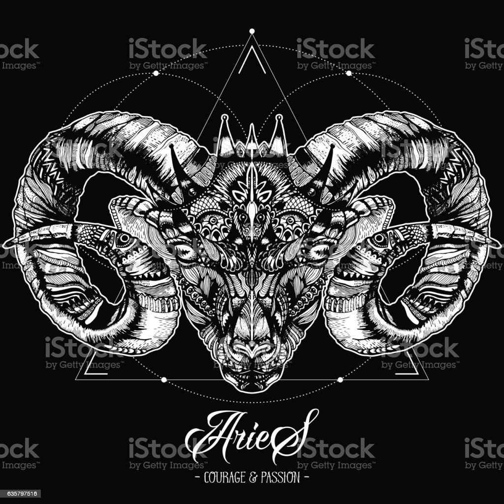 Zodiacal Aries Ink Zenart – artystyczna grafika wektorowa