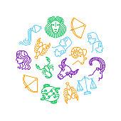 Zodiacal Thin Line Round Design Template Include of Libra, Sagittarius, Taurus, Gemini and Capricorn . Vector illustration of Zodiac Signs