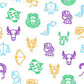 Zodiacal Thin Line Seamless Pattern Background Include of Libra, Sagittarius, Taurus, Gemini and Capricorn . Vector illustration of Zodiac Signs