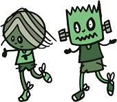 zombie and frankenstein chasing each other