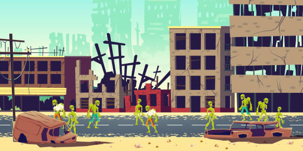 Zombie apocalypse in city cartoon vector concept Zombie apocalypse in city concept. Lining dead, scarifying human mutants, monsters from hell walking on streets among destroyed, ruined buildings in abandoned metropolis cartoon vector illustration spooky halloween town stock illustrations