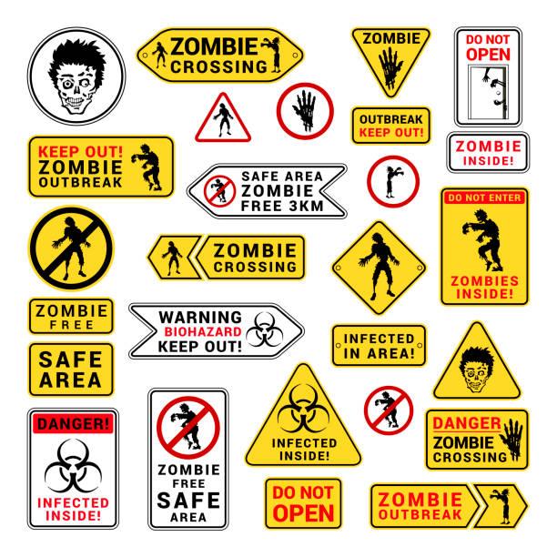 bildbanksillustrationer, clip art samt tecknat material och ikoner med zombie uppmärksamhet akta och försiktighet inloggning - zombie
