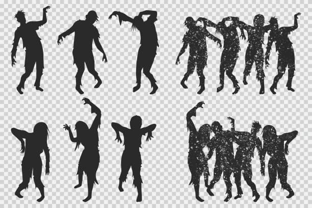 bildbanksillustrationer, clip art samt tecknat material och ikoner med zombie svart siluett. vector halloween ikoner som isolerats på en transparent bakgrund. - zombie