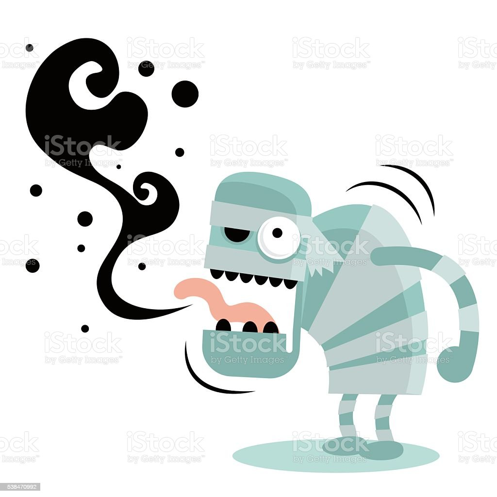 Zombie (Monster, Devil, Ghost) burping, bad breath vector art illustration