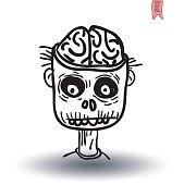 zombie cartoon character, vector illustration.