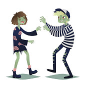 Zombie couple. Cute young woman and man in style of Dead Monsters going for Halloween party. Vector illustration in flat cartoon style on a white background for your design, prints and greeting card.