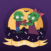 Zombie couple in love with heart in hand. Greeting card happy Valentine's day, vector illustration