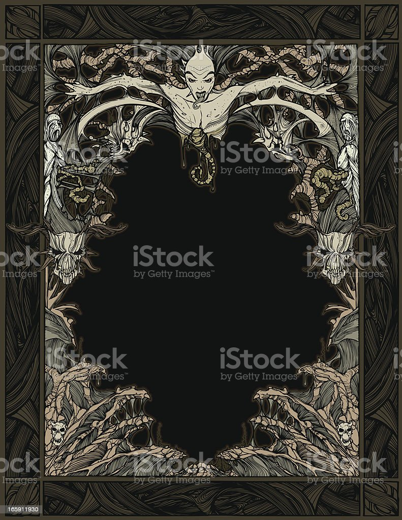Zombie Devil Frame vector art illustration