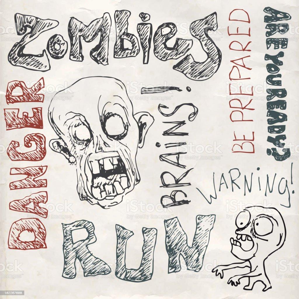 Zombie doodles set royalty-free stock vector art