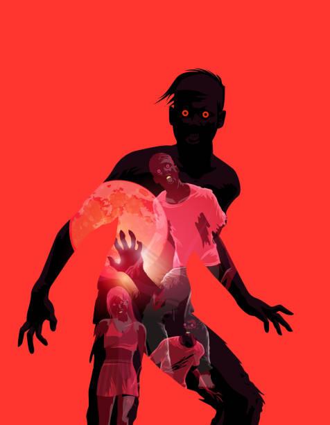 bildbanksillustrationer, clip art samt tecknat material och ikoner med zombie double exposure illustration - kvinna ansikte glow