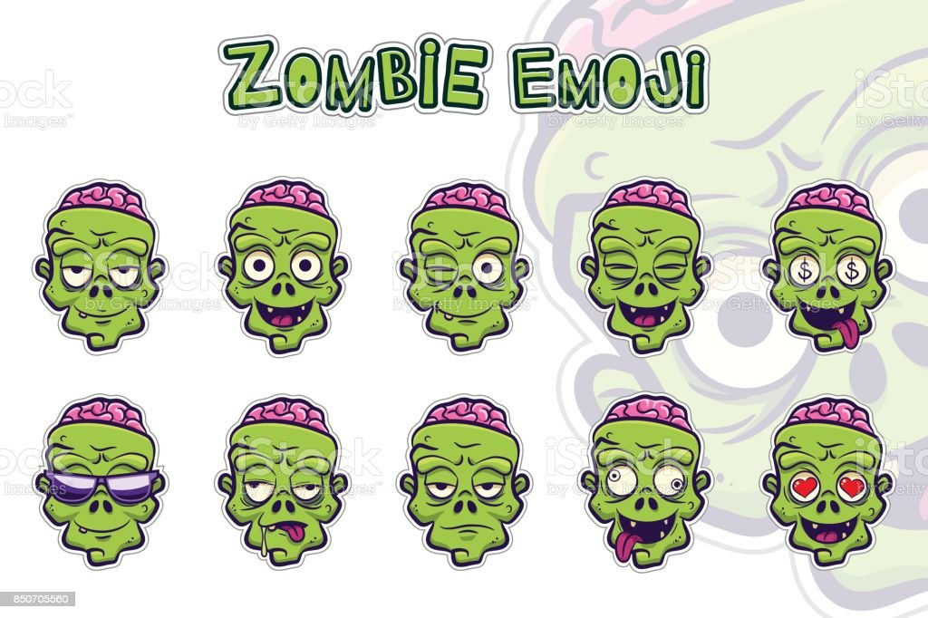 Zombie emoji symbols set. Green zombie cartoon head sticker with different emotions. Funny spooky halloween character isolated on white. Elements for your design. Vector illustration.