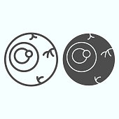 Zombie eye line and solid icon. Celebration party joke, horror eyeball with blood threads. Halloween vector design concept, outline style pictogram on white background, use for web and app. Eps 10